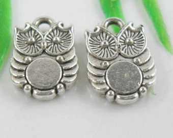 Owl charms silver  10x14mm 10 charms