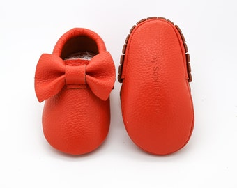 Baby Moccasins, Orange Moccasins, Baby Leather Shoes, Genuine Leather Moccs, Toddler Moccasins, Baby Bow Moccasins