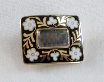 Victorian 14k gold & enamel mourning brooch