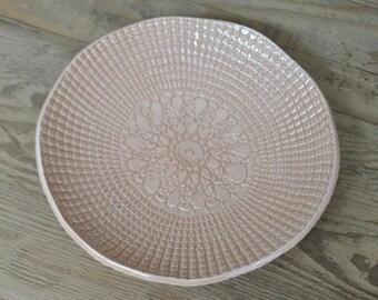 Peach Ceramic Plate, Doily Handmade Pottery, Serving Dish, Home Decor, Gift, Tapa Platter