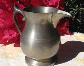 Woodbury Pewterers Vintage Pewter Pitcher, Collectible Pewter Creamer, Made in USA, Discontinued Pattern Americana Mini Cider Pitcher