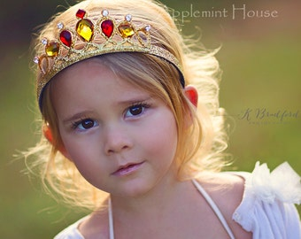 Princess Belle Crown,Princess  Crystal Tiara,Birthday Belle Crown,The Beauty And The Beast Belle Crown, Belle Tiara Headband,PrincessCrown