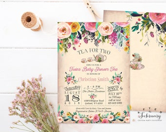 Twins Baby Shower Invitation Tea For Two Tea Party Invite Floral Twin Girls Baby  Shower Invitation
