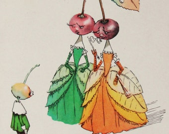 "Illustrator Galey. Vintage Soviet Postcard ""Adventures of Cipollino"" Gianni Rodari - 1956. Sovetskiy hudozhnik. Countesses Cherries, Cherry"