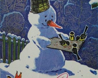 Happy New Year! Used Vintage Soviet Postcard. Artist Zarubin - 1969. USSR Ministry of Communications Publ. Snowman, Squirrel, Tit, Birds