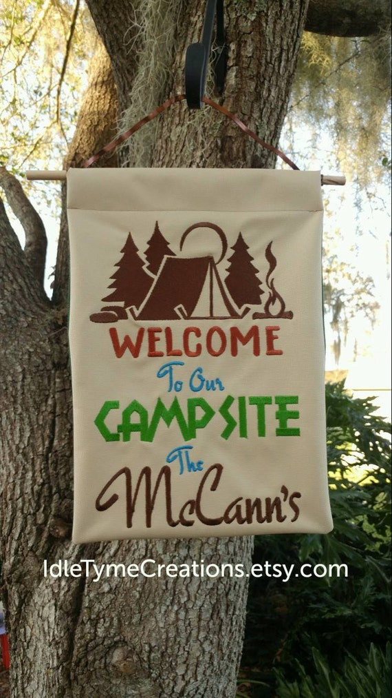 Personalized Campsite Welcome Sign Camping Flag Custom Sign