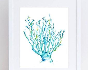Blue coral archival watercolor print.