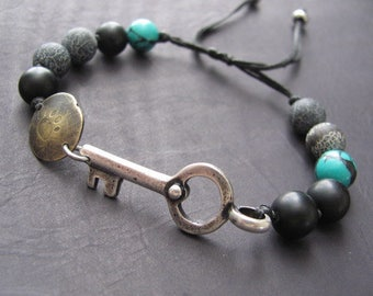 Mens Beaded Bracelet, Womens Beaded Bracelet,  Mens Bracelet, Cuff Mens Bracelet, Bracelet For Men, Womens Bracelet, Key Bracelet