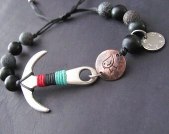 Mens Beaded Bracelet, Womens Beaded Bracelet,  Mens Bracelet, Cuff Mens Bracelet, Bracelet For Men, Womens Bracelet, Anchor Bracelet