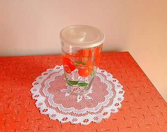 Vintage Libbey orange juice pitcher with plastic lid