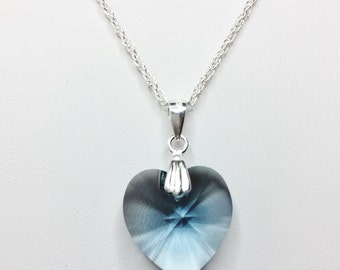 Denim Blue Swarovski Crystal Heart Pendant in Sterling Silver Sapphire Blue Necklace Blue Heart Necklace Unique Gift for Her Valentines Day