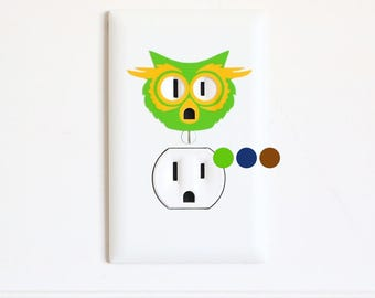 Owl - Electric Outlet Wall Art Sticker Decal