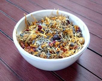 Wild Flower Bath Tea, Floral Tub Tea, Bath Soak, Calendula, Chamomile, Spearmint, Rose, Rosemary, Relaxing, Reiki Infused