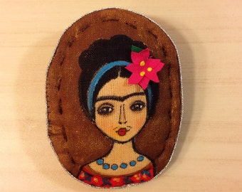 Frida brooch Hand paint brooch textile brooch woman portrait brooch painting fabric brooch stylish accessories Frida Kahlo pin Mexican art
