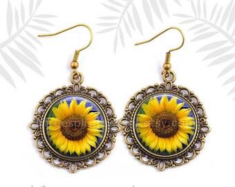 Sunflower Earrings,Boho Jewelry,  Yellow, Sunflower, Floral Jewelry, Photo image Jewelry,  Gift for Women, Birthday Gift, Yellow flowers