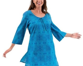 Beach Cover Up or Kaftan Dress in 100% Cotton – Cosmic Aqua-ON SALE!!