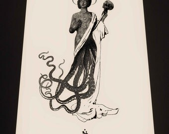 Octo woman, fine art print on aged quality textured 300gr paper