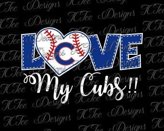 Love My Cubs - Chicago Cubs Baseball - SVG Design Download - Vector Cut File
