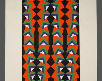 1977 Geometric Serigraph Limited Edition 27/30 Vintage Art Mid Century Modern MCM MOD Decor