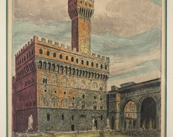 Vintage Palazzo Vecchio Town Hall in Florence, Italy - Middle Eastern Arabic Signed Lithograph Print Framed 20th Century Artwork Art