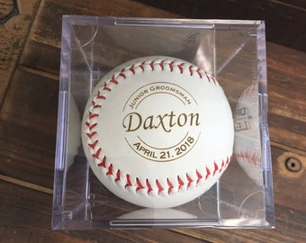 Junior Groomsman Gift Ideas for Boys, Personalized Laser Engraved Baseball w/ Case, Jr Groomsmen Gift, Junior Groomsman, Wedding Party gift