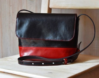 Small Black And Red Leather Shoulder Bag, Handmade Leather Cross Body Bag, Shoulder bag – black and red color