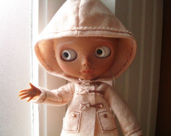 Coat «dufflecoat» with hooded pink powder, for dolls Blythe