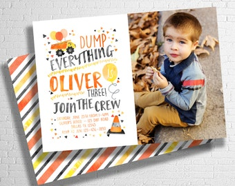 Construction Birthday Invitation | Construction Birthday | Dump  Everything | Dump Truck Invitation | Our Little Builder | DIGITAL FILE ONLY