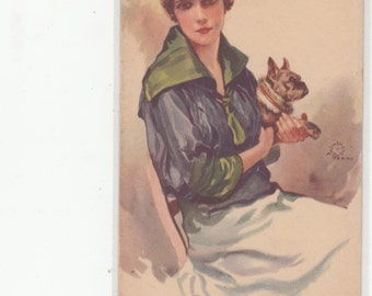 Glamour Fashion Wispy Looking Woman Holding Her Pug Dog-Unused Antique Postcard