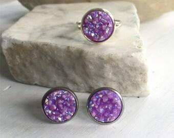 Purple Earrings, Purple Ring, Purple Faux Druzy, Lilac Earrings, Lilac Ring, Hypo Allergenic, Druzy Jewelry, Stainless Steel