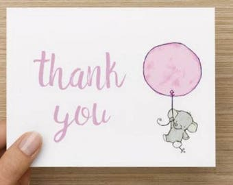 Baby Girl thank you card:Personally designed watercolor baby elephant with balloon shower thank you card