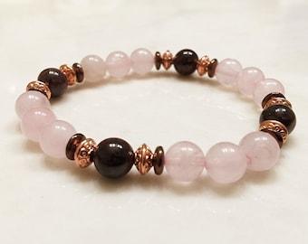 Rose Quartz Bracelet. Gemstone Bracelet. Garnet Bracelet. Mala Bracelet. Yoga Bracelet. Reiki. Healing Bracelet. Love Bracelet. #M223