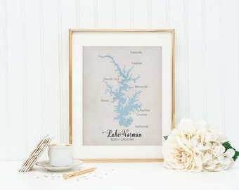 Lake Norman North Carolina - Lake Norman Art Print - Lake Norman Sign - Lake Norman Map - Charlotte North Carolina - Lake Life - Lake Lover