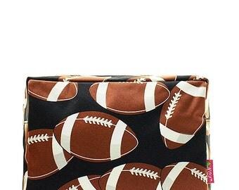 Football Print Monogrammed Cosmetic Case Toiletry Bag