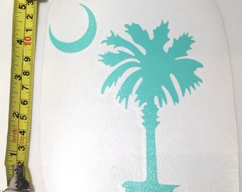 South Carolina Palmetto And Moon Decal-South Carolina Home Palmetto Decal-Palmetto Tree Moon Decal Sticker-Free Extra With 2-5 Inch Size