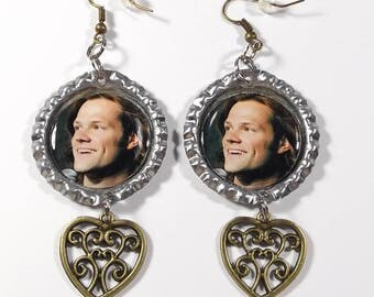Jared Padalecki Earrings w/ Heart Charms FREE SHIPPING 1 Pair Sam Winchester Supernatural