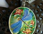 Hand Painted Cameo Blue Dragonfly Pendant 925 Sterling Silver Mother Of Pearl Gemstone Artist Signed Art Jewelry