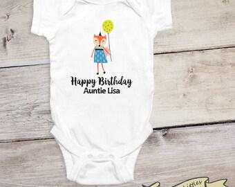 Happy Birthday Auntie - Personalized Aunt Onesie®, Custom Aunt Gift, Nephew Gift, Niece Gift, I Love My Aunt