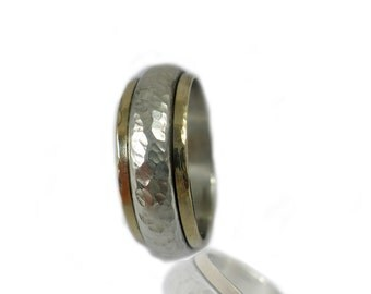 Wedding ring Half round band Silver and 9k gold band Classic wedding ring Hammered wedding band Handmade
