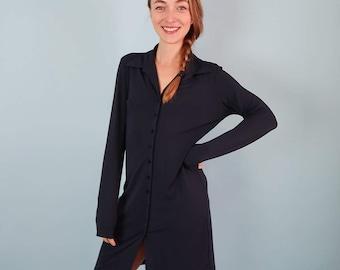 Minimal Navy Blue ESPRIT Button Up Dress