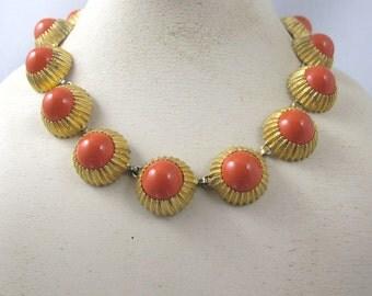 Nettie Rosenstein Necklace Earring Set, Coral Glass Cabochon Links Clip On Matching Earrings, Retro Vintage Rosenstein Jewelry