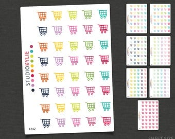Shopping Trolleys Planner Stickers - Planner Stickers  - Repositionable Matte Vinyl to suit all planners