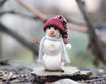 Needle felted Snowman, Christmas Snowman, Christmas ornaments, Christmas Gift, READY TO SHIP!