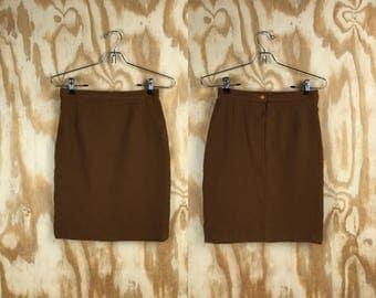 1960s VTG Mid Century Brown Pencil Skirt || Retro Mini Skirt