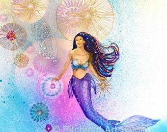 Blue and Purple Mermaid, Mermaid Hair, Sea Nymph, Fantasy, Ocean, Sea, Giclee Print, Coastal Beach Home Deco