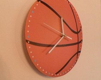 Basketball wall clock orange colour clock sport baskettball wall clock nursery  art for children  numbers  handpainted wall clock