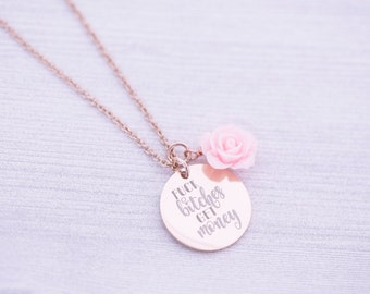 Necklace with Rose - Mature - Custom Engraving - Engraved Necklace - Engraved Jewelry - Pendant - Fuck Bitches Get Money - Boss Lady