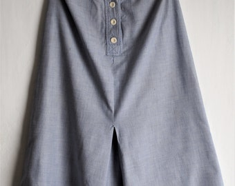 Lovely 1940s Style Blue Cotton Work Wear Skirt