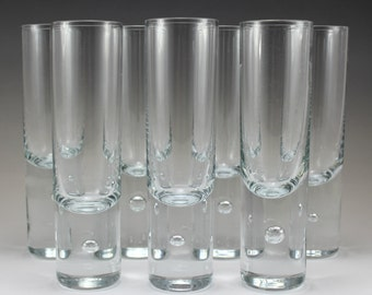 Kosta Boda Set of 7 Fluted Champagne Glasses , Crystal Barware Trapped Bubble Base
