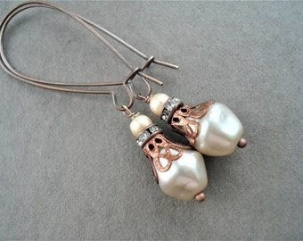Pearl Earrings  Ivory Jewelry Vintage Style Copper Earrings Bridesmaid Gift Long Earrings Pearl Jewelry Dangle Earrings Romantic Jewelry